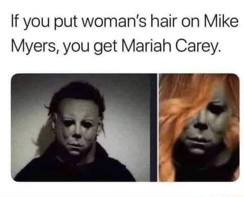 If you put woman's hair on Mike Myers, you get Mariah Carey.