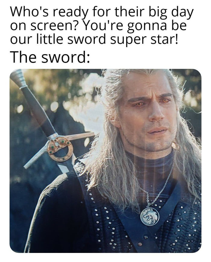 Who's ready for their big day on screen? You're gonna be our little sword super star!  The sword: