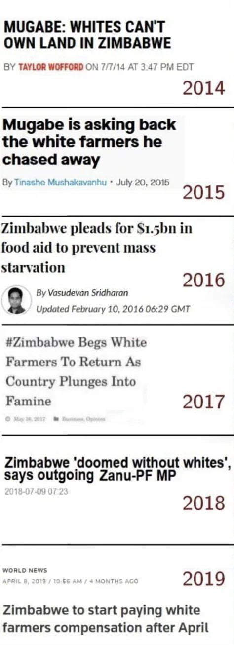 """MUGABE: WHITES CAN'T OWN LAND IN ZIMBABWE  BY YAVMIOFFMOH 77:14 A13JT PM EDT  2014  Mugabe is asking back the white farmers he  chased away  By Tmashe Mushakavanhu - My 20, 2015  2015  Zimbabwe pleads for Smhn in food aid to prevent mass starvation  2 0 1 6 a By Vasudevan Sridhamn  agdmed February 10. 2016 nan GMT  #ZImbabwe Begs White Farmers To Return As Country Plunges Into  Famine 2017  Zlmbabwe 'doomed without whltes', says outgoing Zanu-PF MP  2018  Winn""""? _ > H 2019  Zlmbabwe to start paying white farmers compensation after April"""