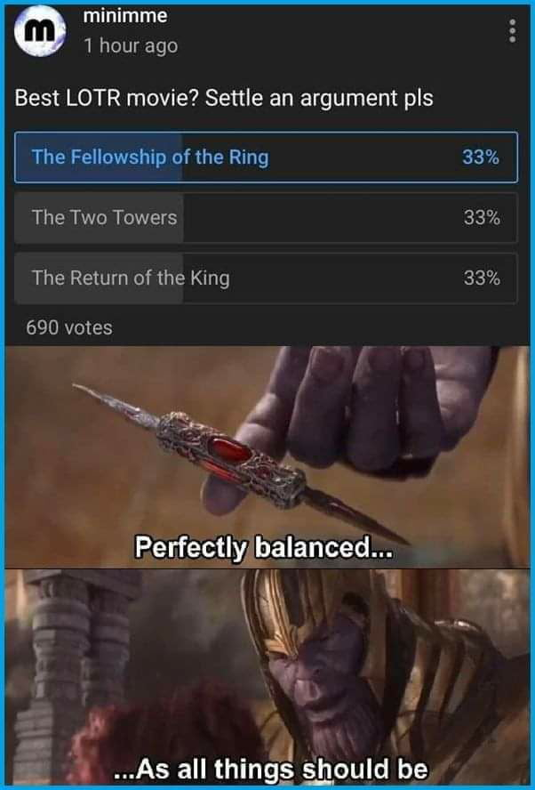 """minimme 1 hour ago  Best LOTR movie? Settle an argument pls     The Fellawship of the Ring     The Two Towers  The Return of the King  690 votes  \fl,  Perfectlylbarlanced...  \K 1""""  3"""",. s. ' 5 ...As all thinfi's' should be"""
