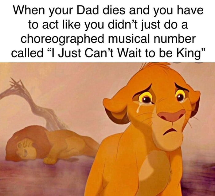 """When your Dad dies and you have to act like you didn't just do a choreographed musical number called """"I Just Can't Wait to be King""""  /_ - (14:1 V iii a3 » .  ,J"""