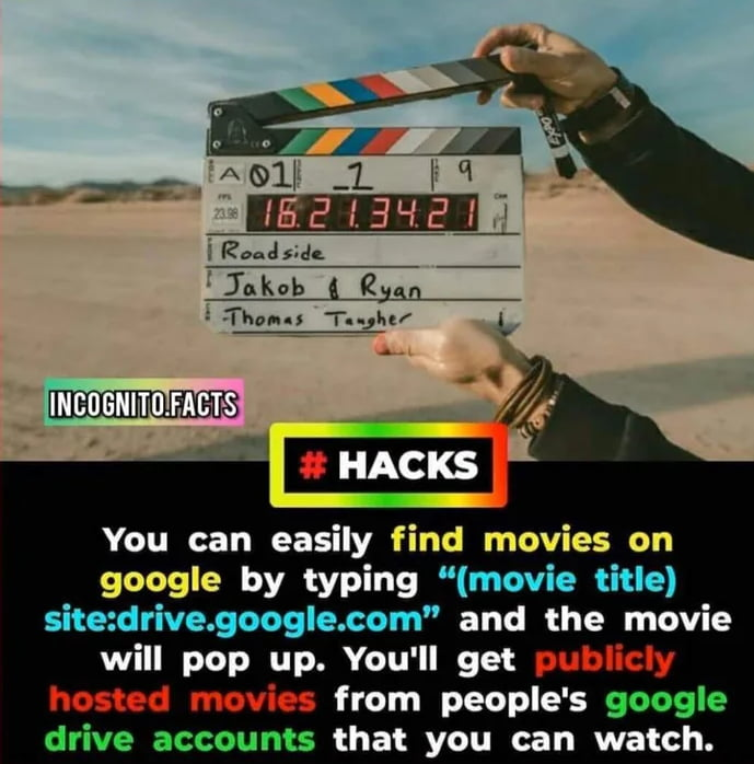 """IA®11_V'_1  = q _ . 15:2 {ENE— 129"""""""";  jnkob 9 £593  :Thonu T.-_,hz/ (  L'r7;.'            {(  You can easily find movies on google by typing """"(movie title)  site:drive.gocgle.com"""" and the movie will pop up. You'll get  from people's google  drive accounts that you can watch."""