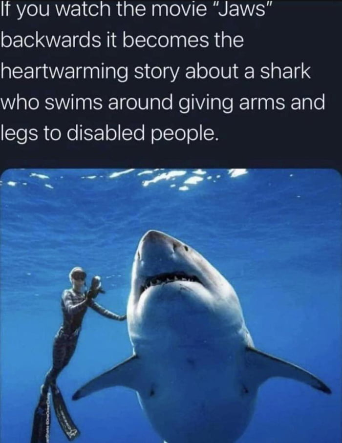 """It you watch the movie """"Jaws"""" backwards it becomes the heartwarming story about a shark who swims around giving arms and legs to disabled people.  -.~ /:s-..:--'  , . ' .5: * \'\. / ,J  i'  {44"""
