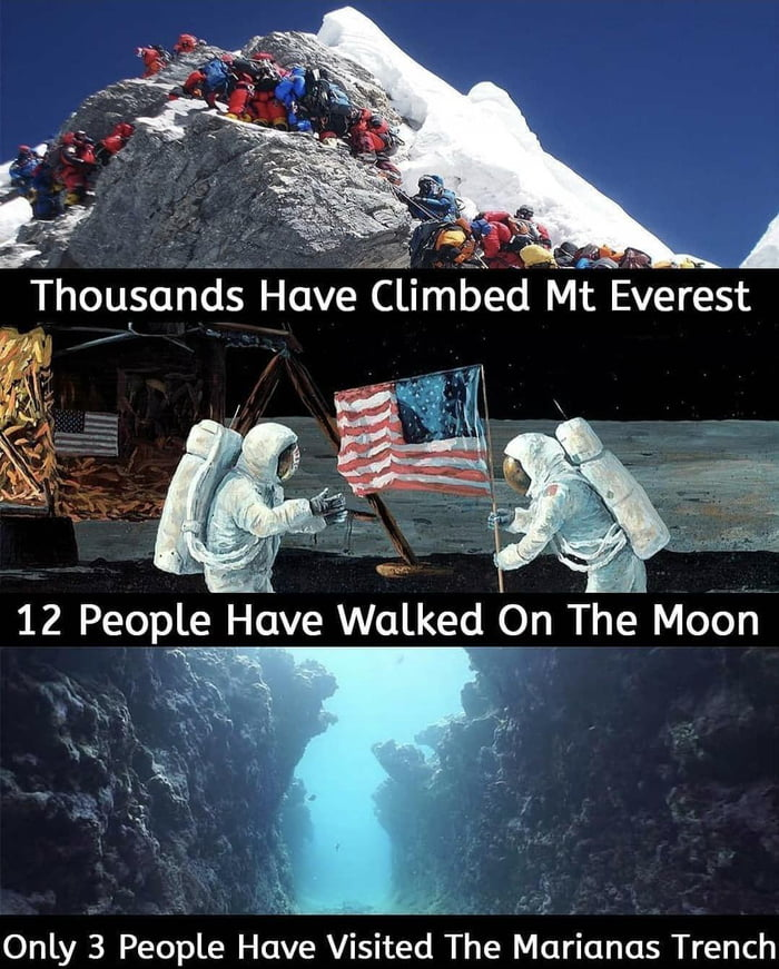 """g""""?   . 1  ¥ Thou§ands Have Climbed Mt E:Ierest            ' »  Only 3 People Have Visited The Marianas Trench"""