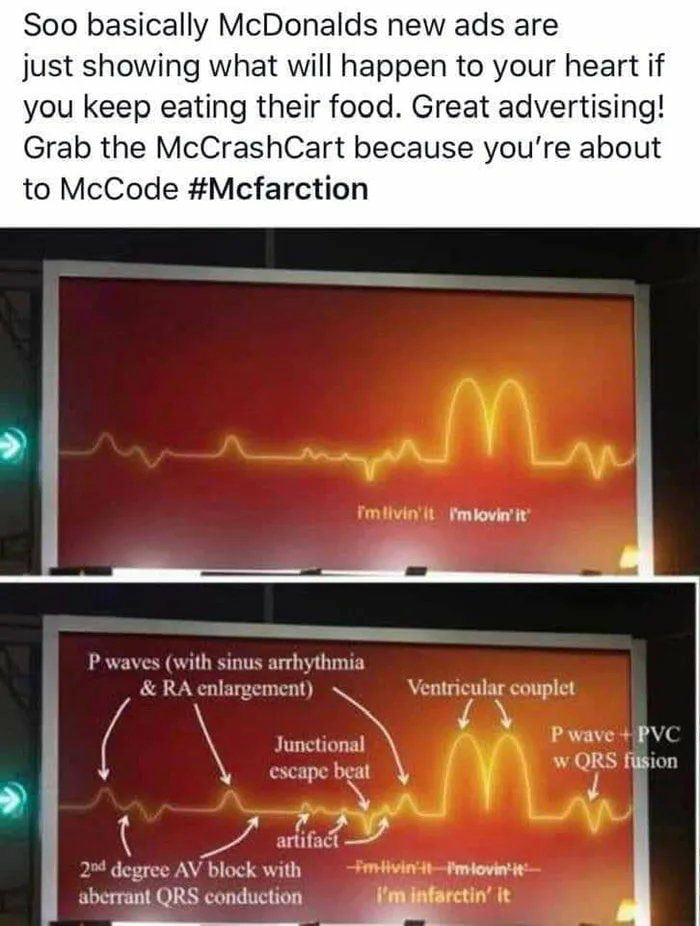 """Soo basically McDonalds new ads are just showing what will happen to your heart if you keep eating their food. Great advertising!  Grab the McCrashCart because you're about to McCode #Mcfarction         rmlovn'u          '75s"""",  I'\\.l\c\ (\ullv unux 'urhuhmm  & R\m