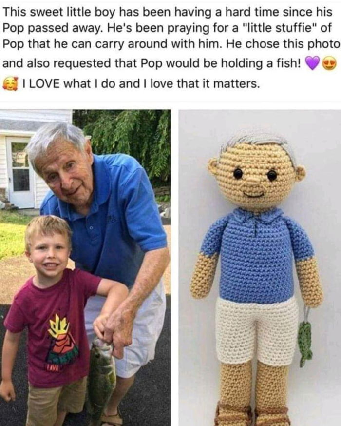 """This sweet little boy has been having a hard time since his Pop passed away. He's been praying for a """"little stuffie"""" of Pop that he can carry around with him. He chose this photo  and also requested that Pop would be holding a fish! V , V I LOVE what I do and I love that it matters."""