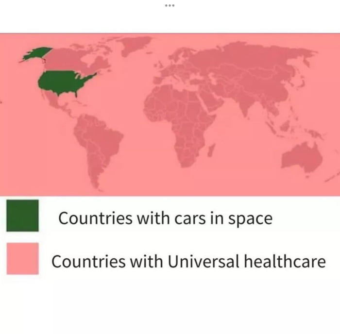 W  I Countries with cars in space  Countries with Universal healthcare