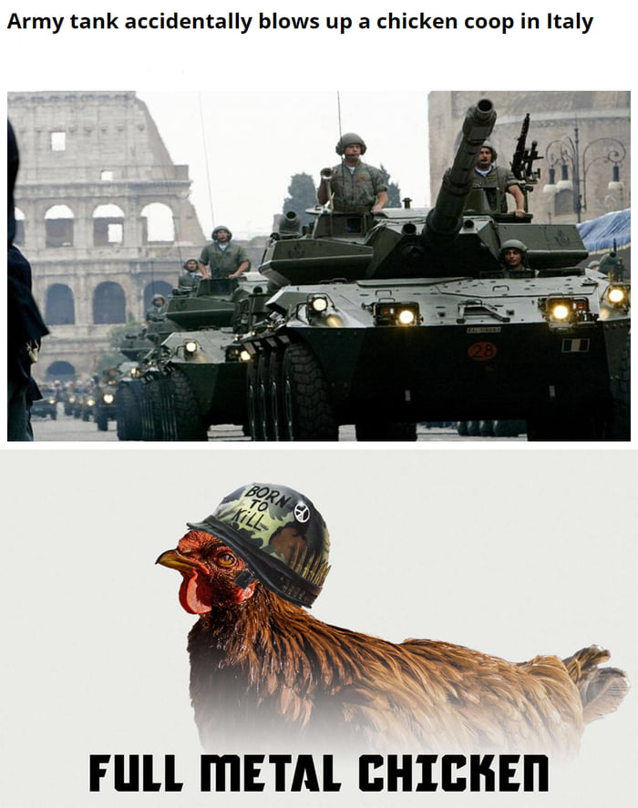 Army tank accidentally blows up a chicken coop in Italy     Fllll I'I'IETAl BHIBHEI'I