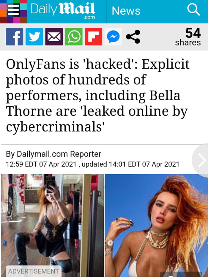 [E31 E-fi < shge4s  OnlyFans is 'hacked': Explicit photos of hundreds of performers, including Bella Thorne are 'leaked online by cybercriminals'  By DailymaiLcom Reporter 12:59 EDT 07 Apr 2021 ,updated 14:01 EDT 07 Apr 2021     ADVERTISEMENT