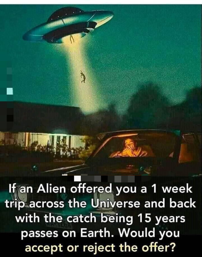 Iflan Alien offergfid you a 1 week tr'i'pacross the filfr'i'igglerse and back with the catchVVIS'Eing 15 years passes on Earth. Would you  accept or reject the offer?