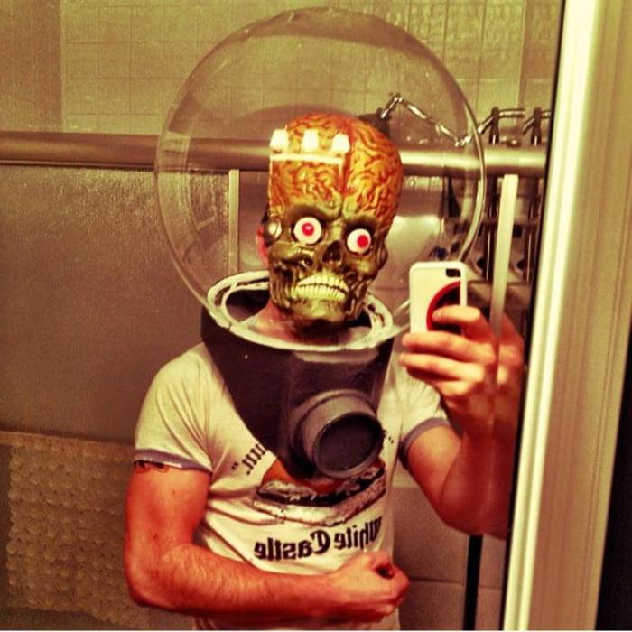 Homemade Halloween mask selfie.