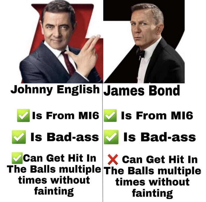 """Johnny English  5' Is From MI6  .1 Is Bad-ass  """"Can Get Hit In The Balls multiple times without fainting     James Bond  .1 Is From MI6 .1 Is Bad-ass  Can Get Hit In The Balls multiple times without     fainting"""