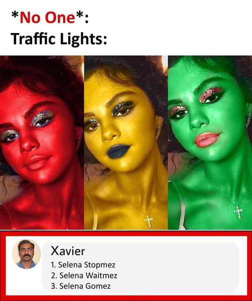 *No One*: Traffic Lights:     Xavier  1. Selena Slapmez 2 Selena Waitmez 3. Se'ena Gomez