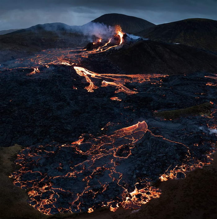 From the ongoing volcanic eruption in Iceland.
