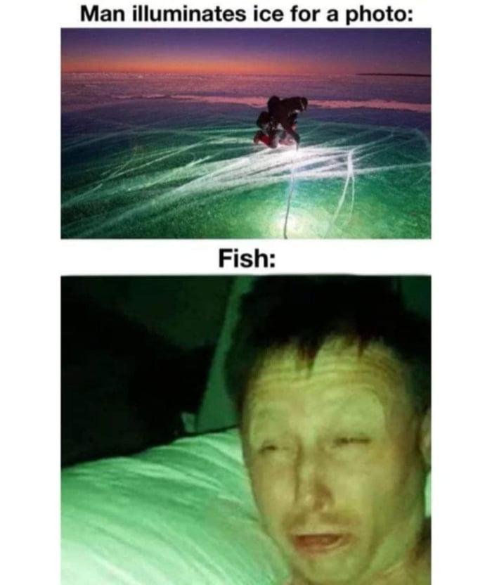 Man illuminates ice for a photo:
