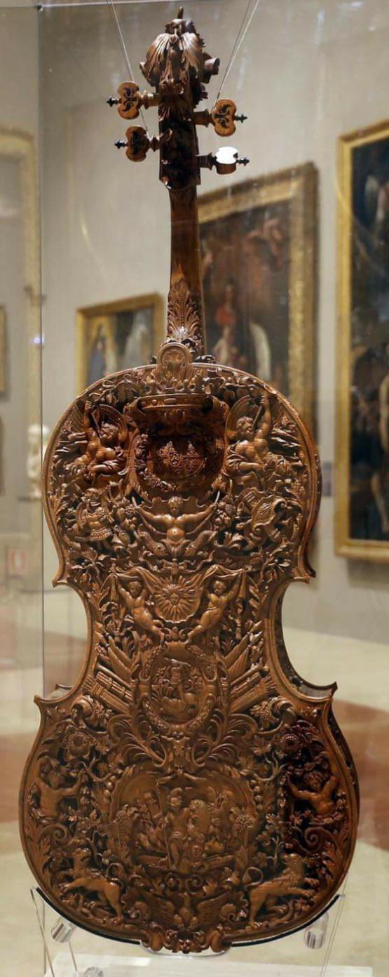Intricately carved violin by Domenico Galli in 1687. Now on display at the Galleria Estense in Modena, Italy.