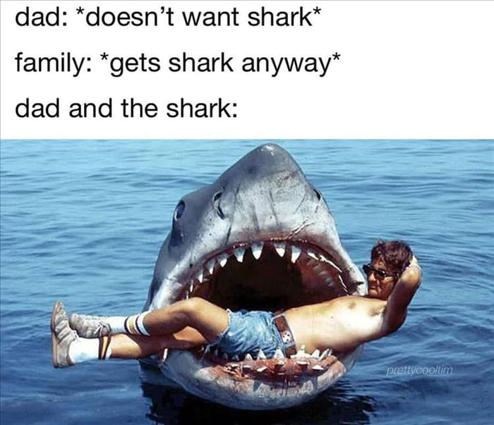 """dad: *doesn't want shark*  family: *gets shark anyway"""" dad and the shark:"""