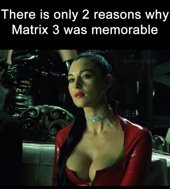 There is only 2 reasons why Matrix 3 was memorable