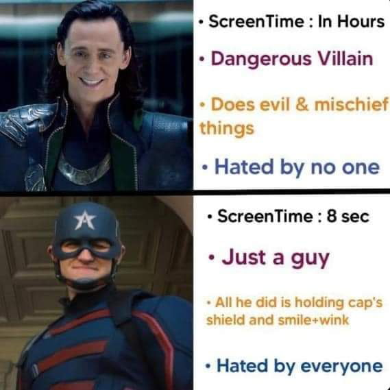 - ScreenTime : In Hours  - Dangerous Villain  - Does evil 8. mischief things  - Hated by no one  - ScreenTime : 8 sec  - Just a guy  - All he dld IS holdmg cap's shleld and smileawlnk     - Hated by everyone