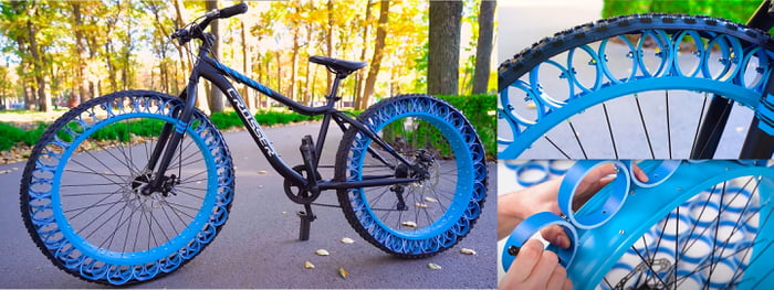 DIY airless bike tires made from plastic pipes