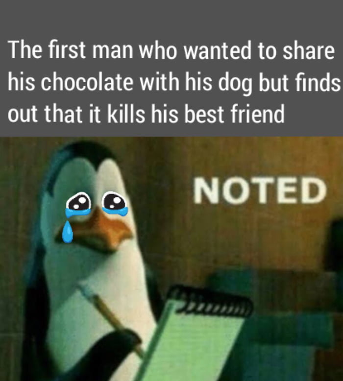 """The first man who wanted to share his chocolate with his dog but finds out that it kills his best friend  fig 3'  NOTE'IS'         (9  """".h"""