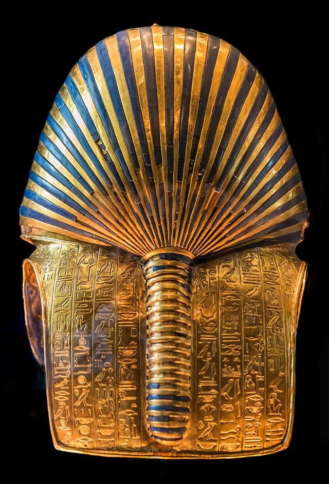 The back of the burial mask of Egyptian Pharaoh Tutankhamen (King Tut)