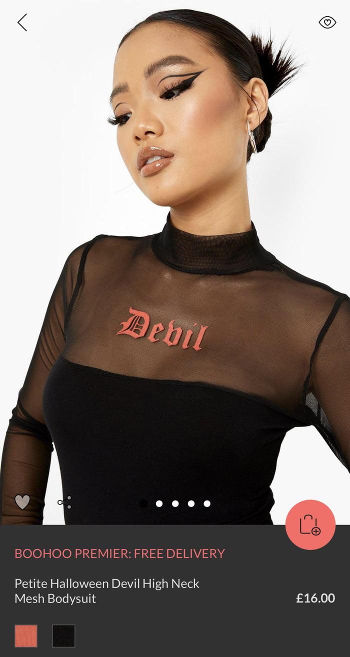 "Q? ""I .000  Petite Halloween Devil High Neck Mesh Bodysuit £16.00"