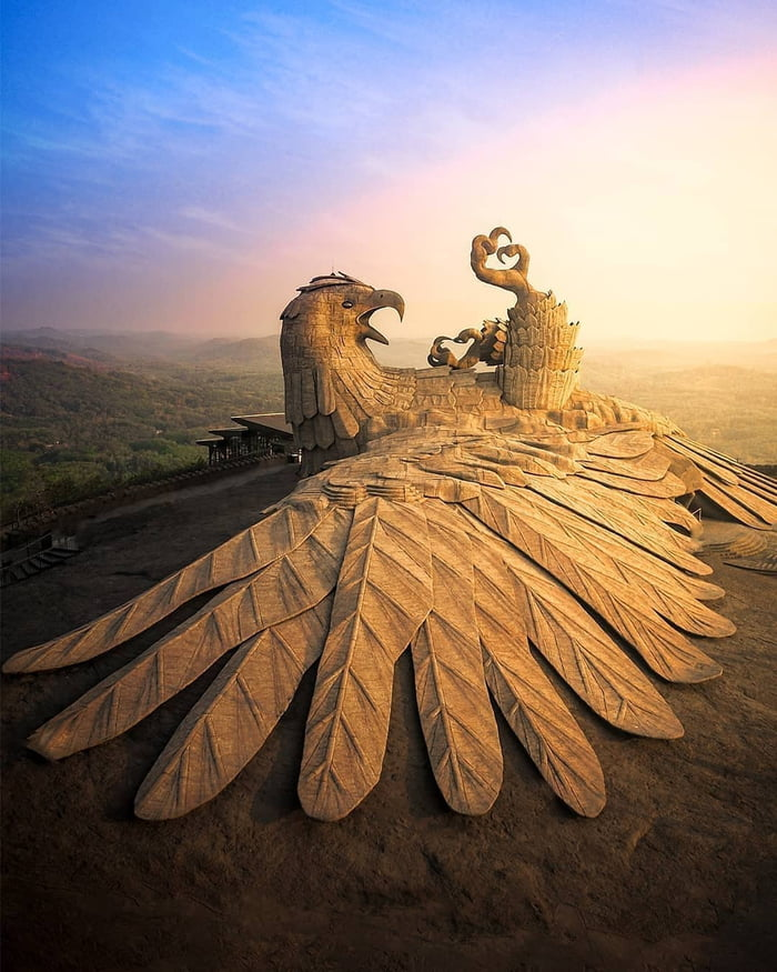 World's largest bird sculpture (which is of Jatayu) in Jatayu Nature park in Kollam, Kerala. The sculpture measures 61m long, 46m wide and 21m in height.