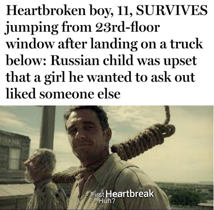"""Heartbroken boy, 11, SURVIVES jumping from 23rd-fl00r window after landing on a truck below: Russian child was upset that a girl he wanted to ask out liked someone else     i"""" !FustHeartbreak H Huh"""" '"""