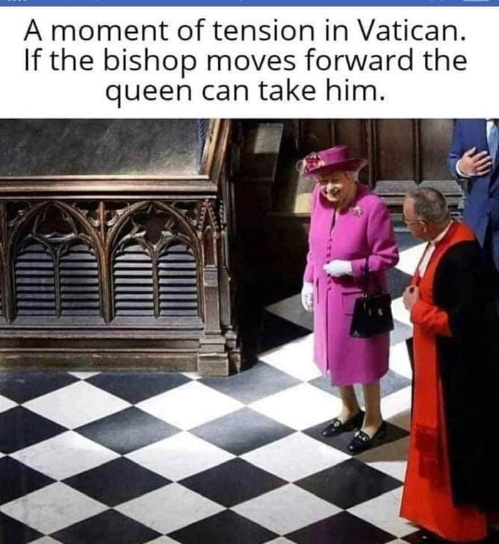 A moment of tension in Vatican. If the bishop moves forward the queen can take him.