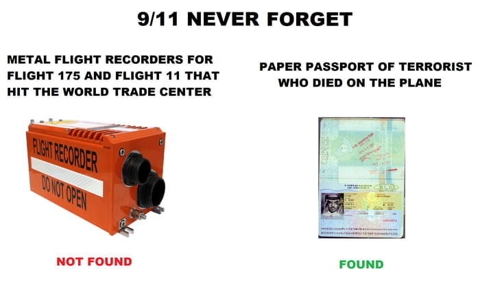 9/1 1 NEVER FORGET  METAL FLIGHT RECORDERS FOR FLIGHT 175 AND FLIGHT 11 THAT HIT YHE WORLD TRADE CENYER  PAPER PASSPORT OF TERRORIST WHO DIED ON THE PLANE     uo-r FOUND FOUND