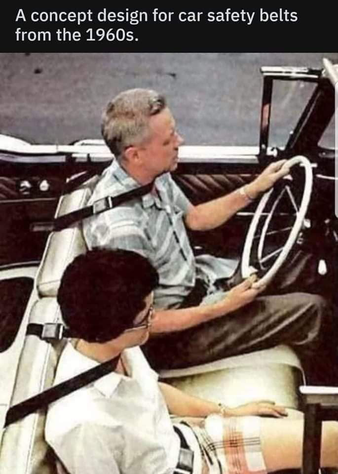 A concept design for car safety belts from the 19605.  t
