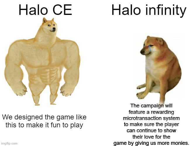 We designed the game like this to make it fun {0 play  Halo infinity     The campaign will feature a rewarding microtransaction system to make sure the player can continue to show their love for the game by giving us more monies.