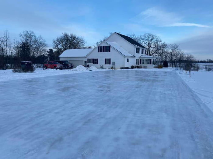 A friend turned his driveway into an ice rink this winter