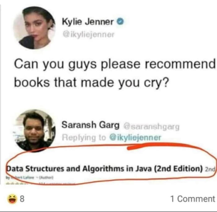 Kylie Jenner 0  Can you guys please recommend books that made you cry?         Saransh Gary 0 ikyliejenner  . 8 1 Comment