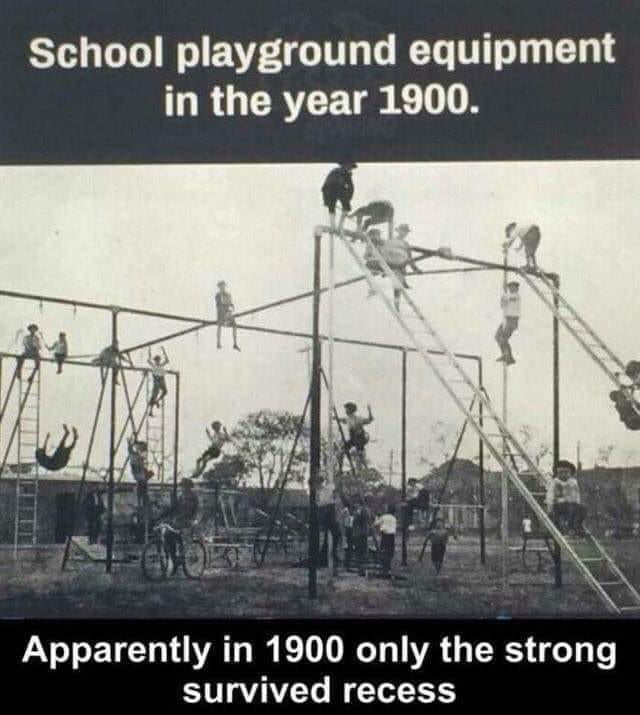 School playground equipment in the year 1900.     Apparently in 1900 only the strong survived recess