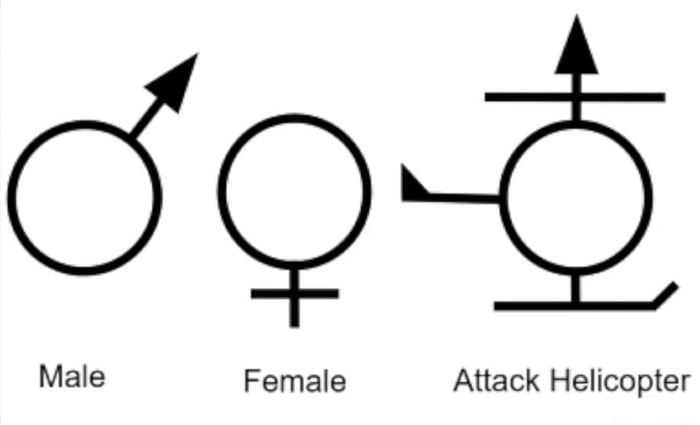 Male Female Attack Helicopter