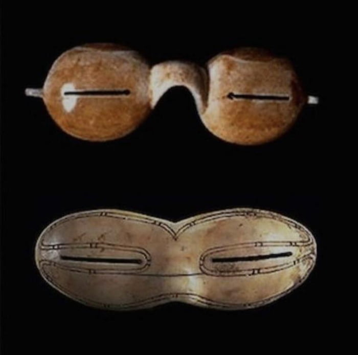 First sunglasses were made by the Inuits 4000 years ago. These glasses protected them from UV light and snow blindness.