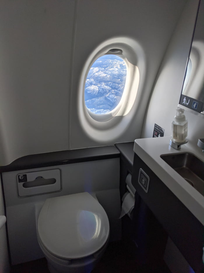 The bathroom on this plane had a window in it. What a view!