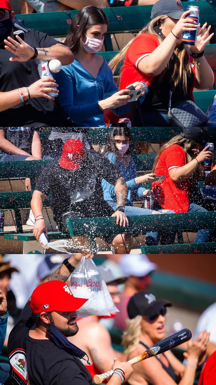On Saturday, a line drive flew into the stands at the Angels ST game, striking a fans beer. Though the beer exploded, the woman on the other side was saved. In response, Mike Trout and Joe Maddon sent the fans an autographed bat and more beer.