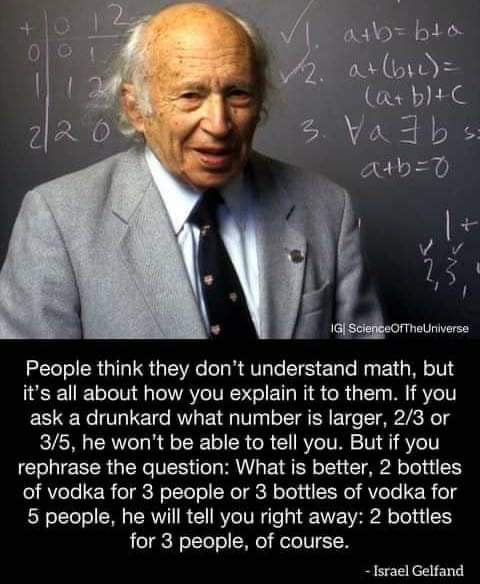 People think they don't understand math. but it's all about how you explain it to them If you ask a drunkard what number is larger, 2/3 or 3/5, he won't be able to tell you. But if you rephrase the question: What is better, 2 bottles of vodka for 3 people or 3 homes of vodka for 5 people. he will tell you right away: 2 bottles for a people. of course.  , Israel (Selland