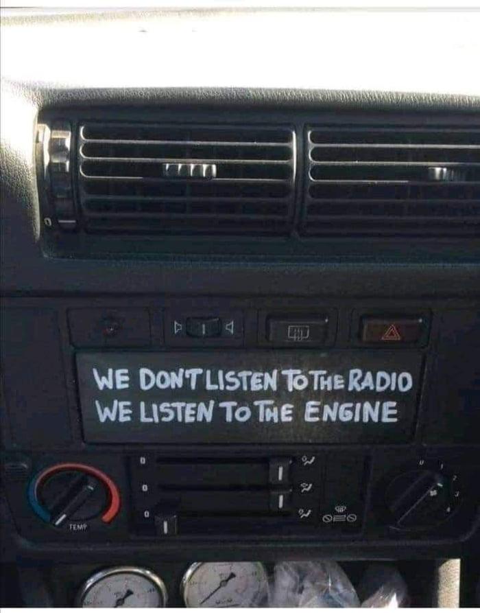 """WE DON'T LISTEN 161i"""": RADIO WE LISTEN TOWE ENGINE"""