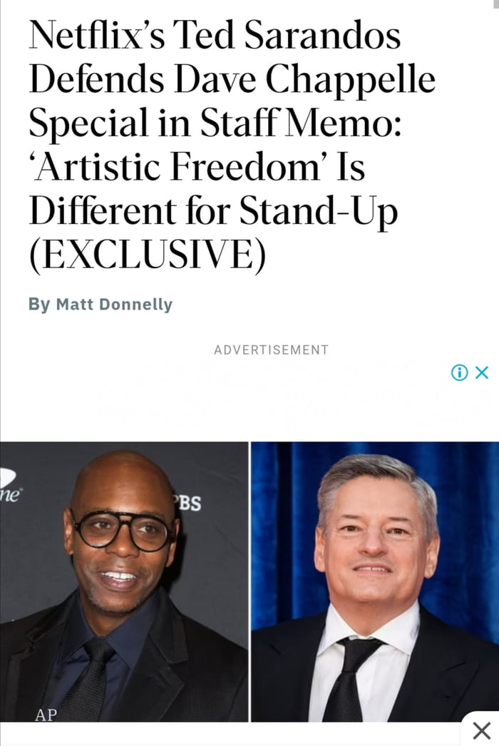 NetfliX's Ted Sarandos Defends Dave Chappelle Special in StaffMemo: 'Artistic Freedom' Is Different for Stand—Up (EXCLUSIVE)  By Matt Dannelly