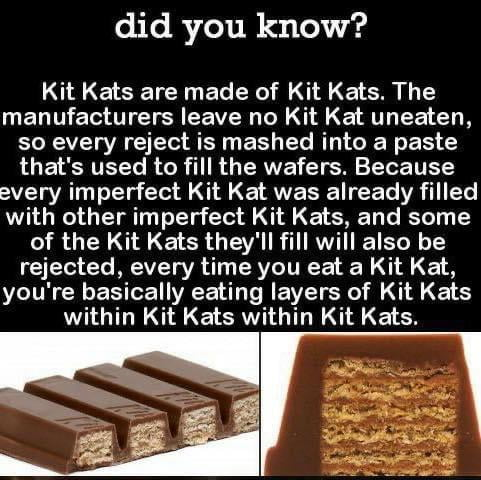 did you know?  Kit Kats are made of Kit Kats. The manufacturers leave no Kit Kat uneaten, so every reject is mashed into a paste that's used to fill the wafers. Because every imperfect Kit Kat was already filled with other imperfect Kit Kats, and some of the Kit Kats they'll fill will also be rejected, every time you eat a Kit Kat, you're basically eating layers of Kit Kats within Kit Kats within Kit Kats.
