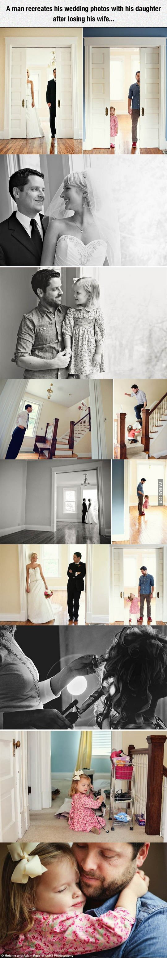 A man recreates his wedding photos with his daughter after losing his wife...