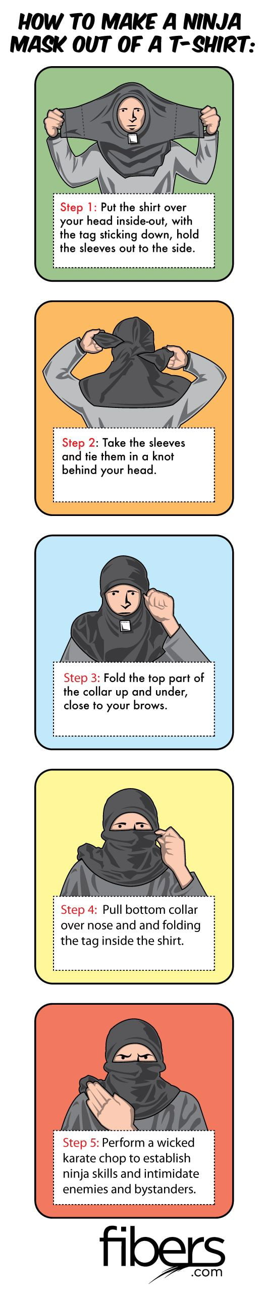 HOW TO MAKE A NINJA MM OUT OF A T-QHIRT:  ' Step 'I: Put the shirt over  ' your head insideout, with the tag sticking down, hold the sleeves out to the side.     . Step 2: Take the sleeves and tie them in a knot behind your head.  I Step 3: Fold the top part of I : the collar up and under, close to your brows.  I Step 4: Pull bottom collar 5 over nose and and folding the tag inside the shirt.  Step 5: Perform a wicked karate chop to establish ninja skills and intimidate enemies and bystanders.     .COm