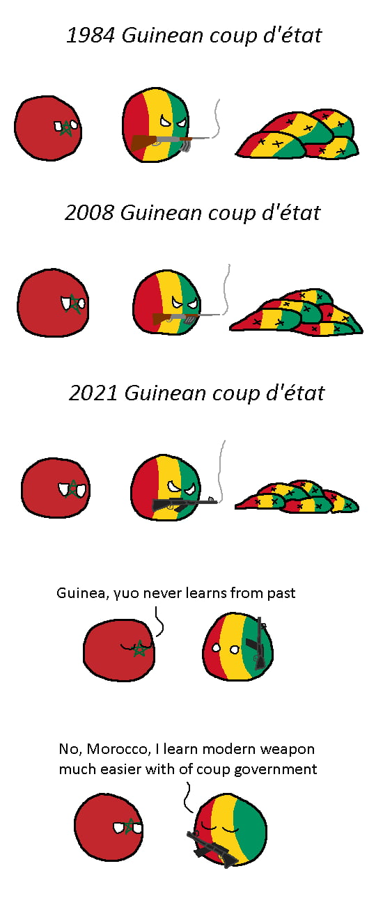 1984 Guinean coup d'état  fin  2008 Guinean coup d 'état  &A  2021 Guinean coup d'état  Guinea, vuo never learns from past  No, Morocco, I learn modern weapon much easier with of coup government  0%