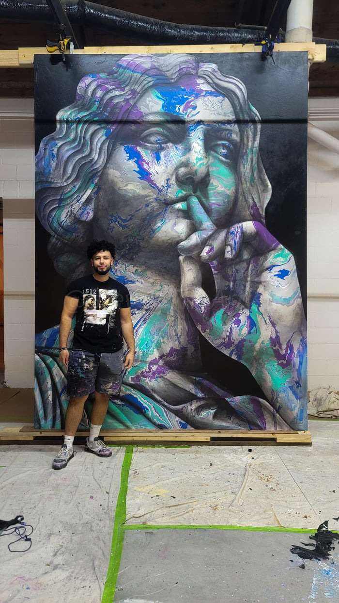 Almost finished with the biggest painting on canvas I've done so far , (me for scale)