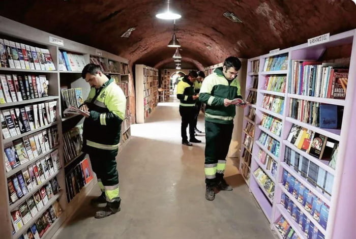 In Ankara, Turkey, the garbage collectors banded together to save books that were being thrown away, and used the collection to open a library.