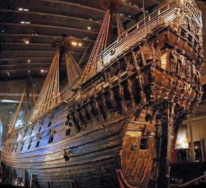 Swedish Warship Vasa. It sunk on 1628 and was recovered in Ocean in 1961.